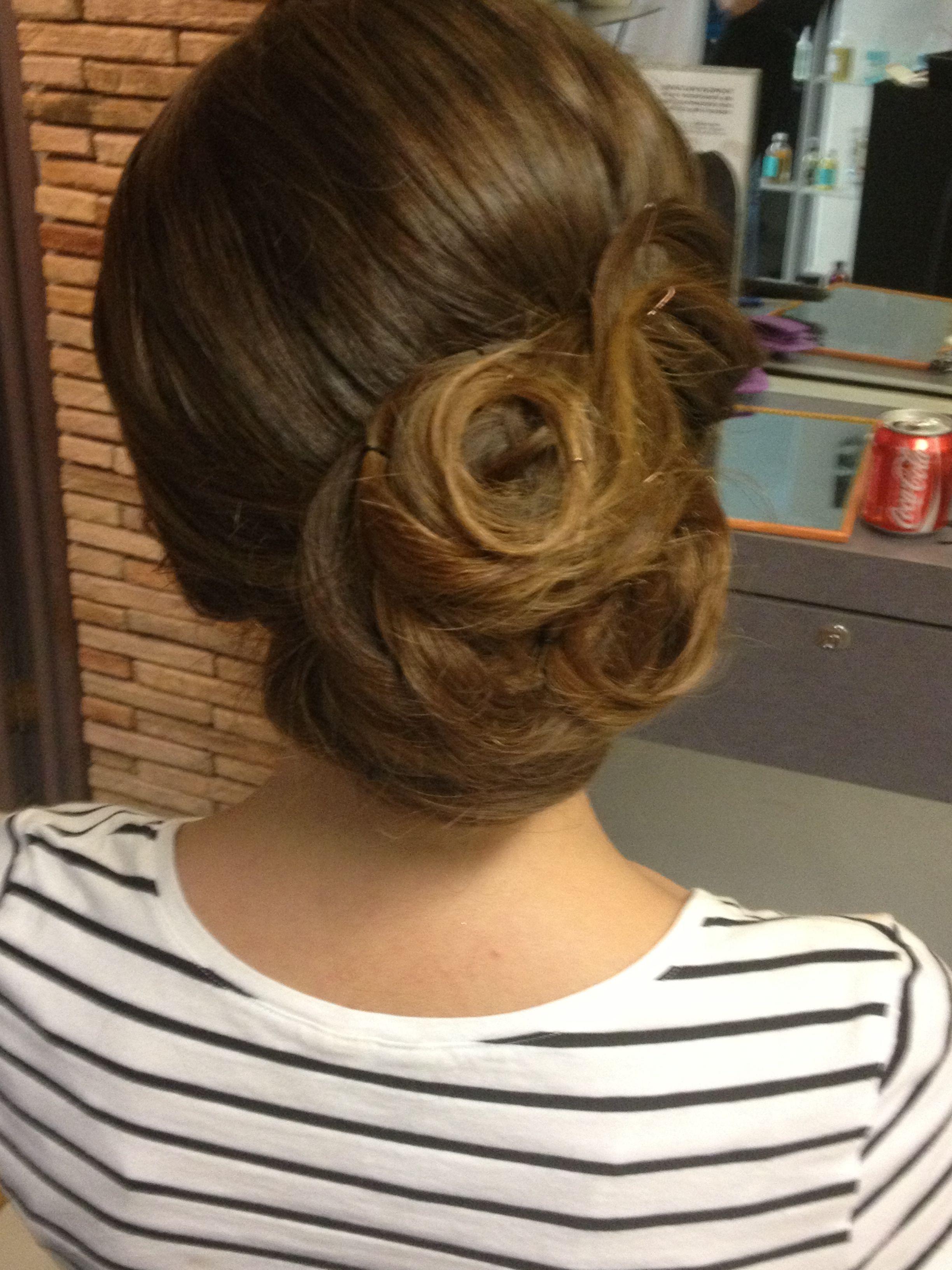 Long hair in a low bun elegant u cute for prom or wedding hair