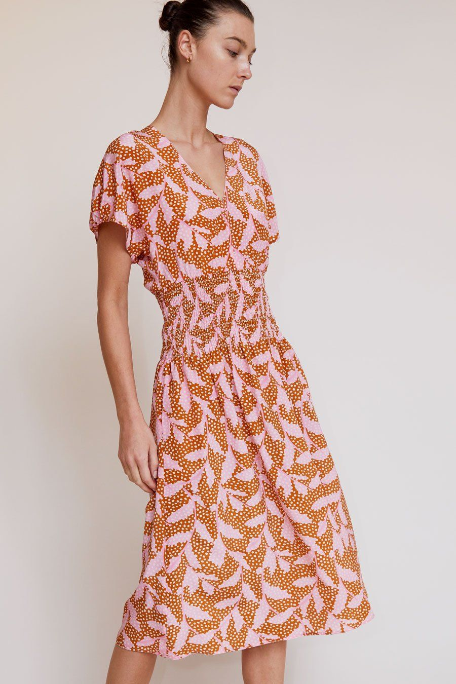 No 6 Simona Smocked Silk Dress In Apricot Dotted Leaves Silk