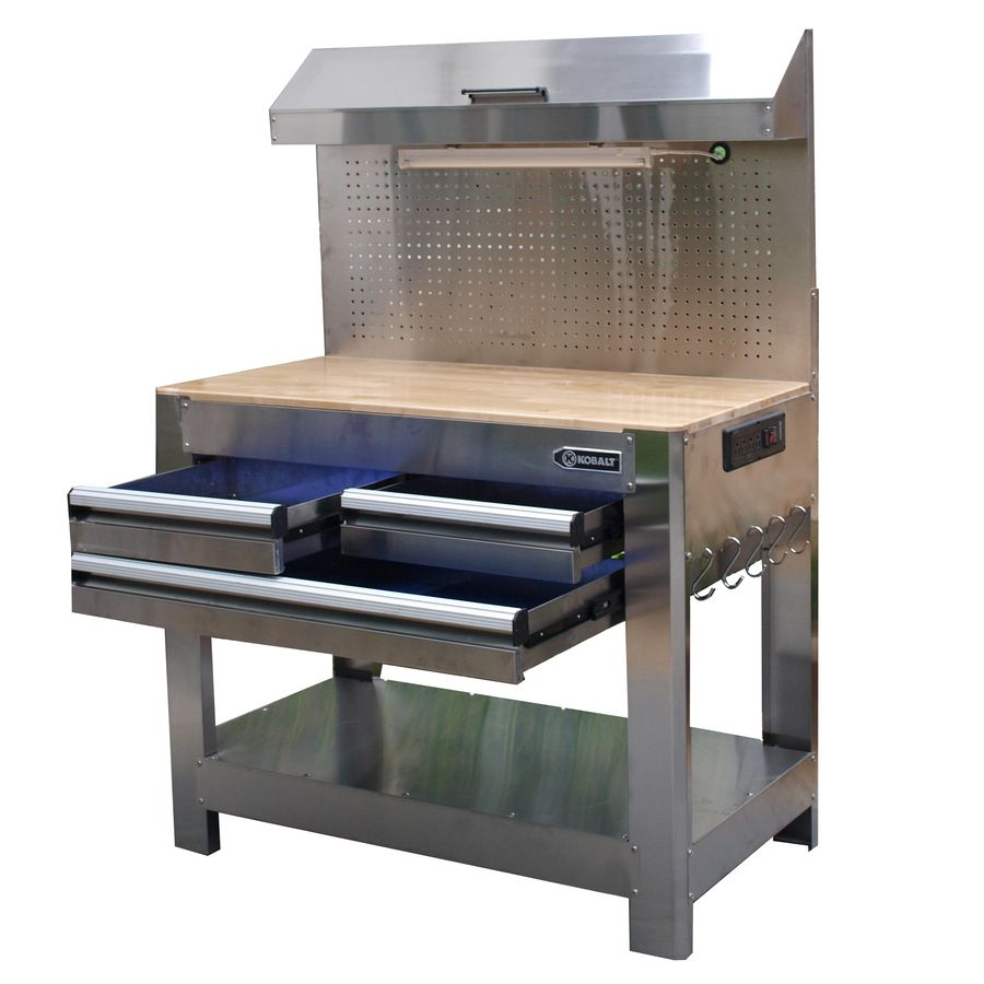 Marvelous Shop Kobalt 36 In 3 Drawer Wood Work Bench At Lowes Com Beatyapartments Chair Design Images Beatyapartmentscom