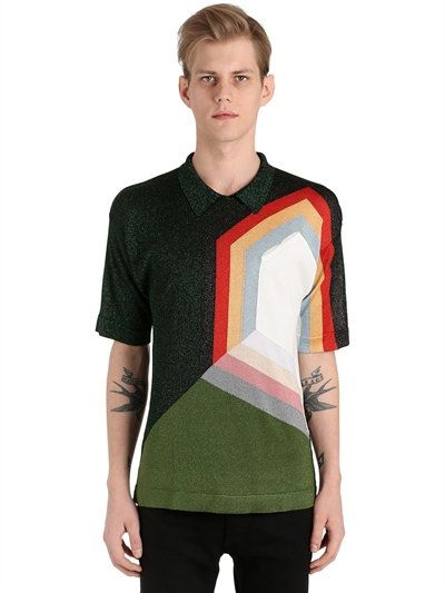 MARCO DE VINCENZO GRAPHIC KNIT POLO SHIRT, MULTICOLOR. #marcodevincenzo #cloth #t-shirts