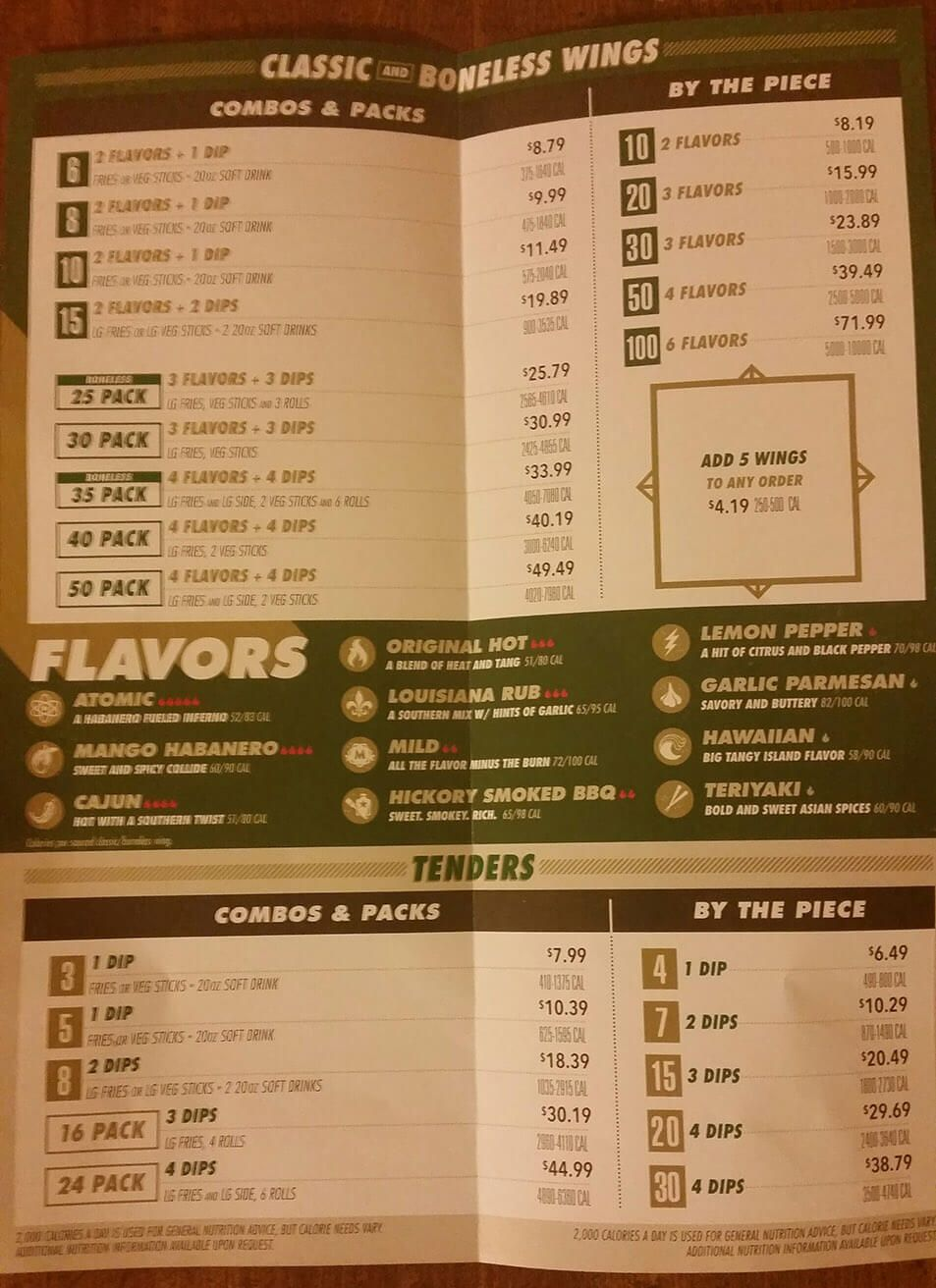 This is a picture of Massif Wingstop Printable Menu