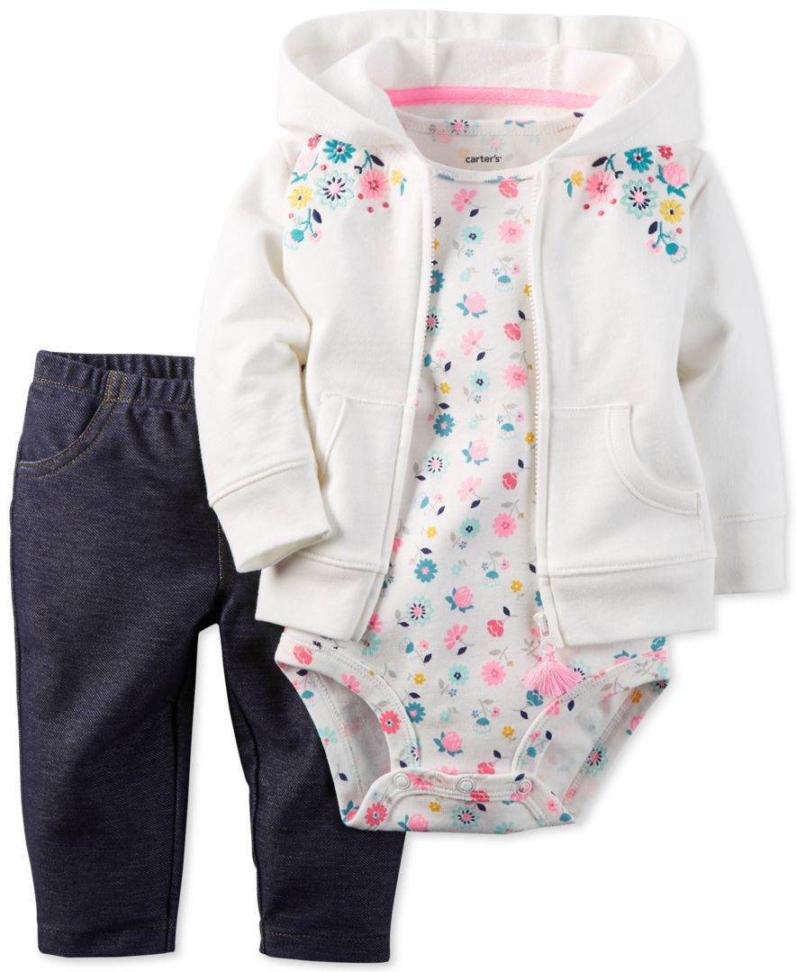 98d7c56d6 Carter s Baby Girls  3-Pc. Floral-Print Hoodie