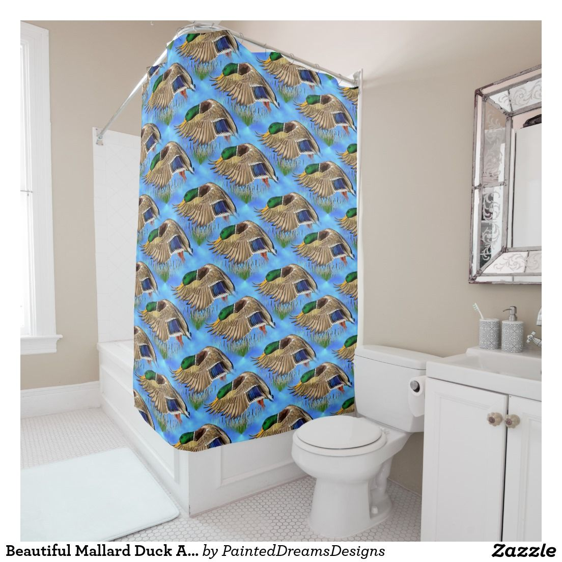 Beautiful Mallard Duck Art Pattern Shower Curtain