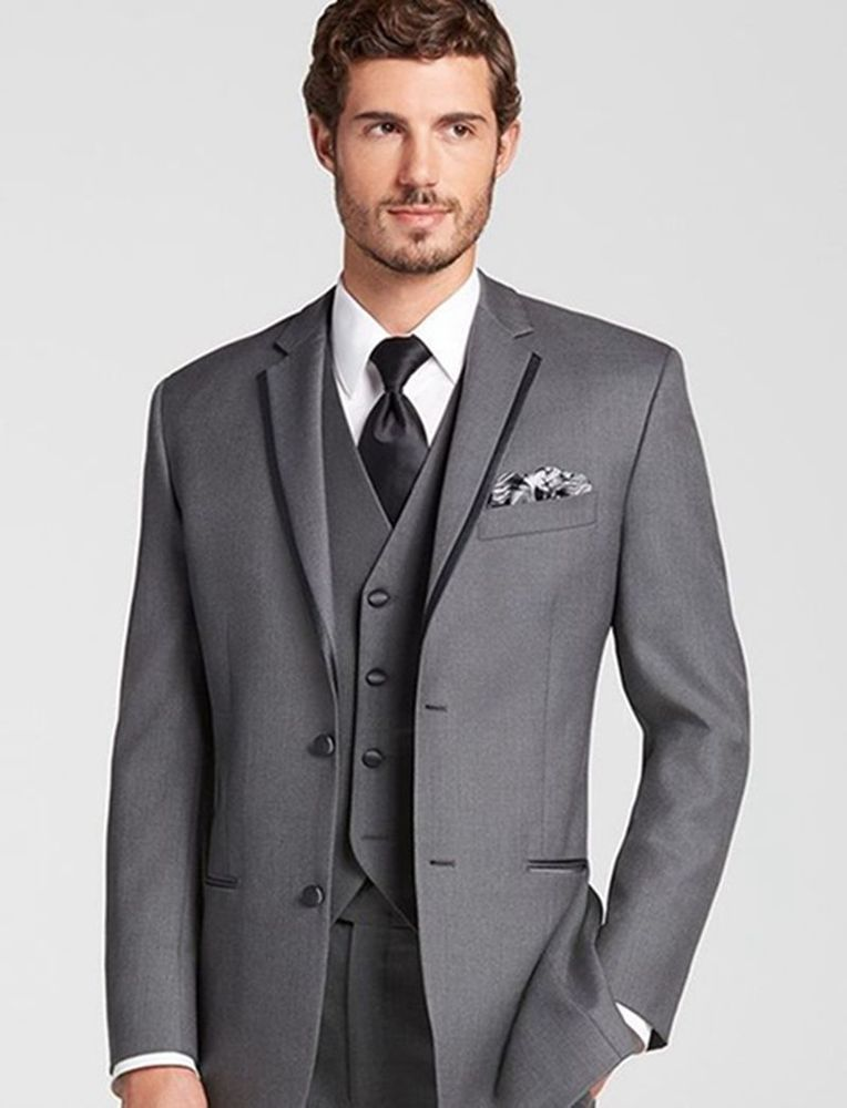 18c93d7e784 2018 New Custom 3 Piece Sim Fit Grey Best Man Groomsman Men s Wedding Prom  Suits