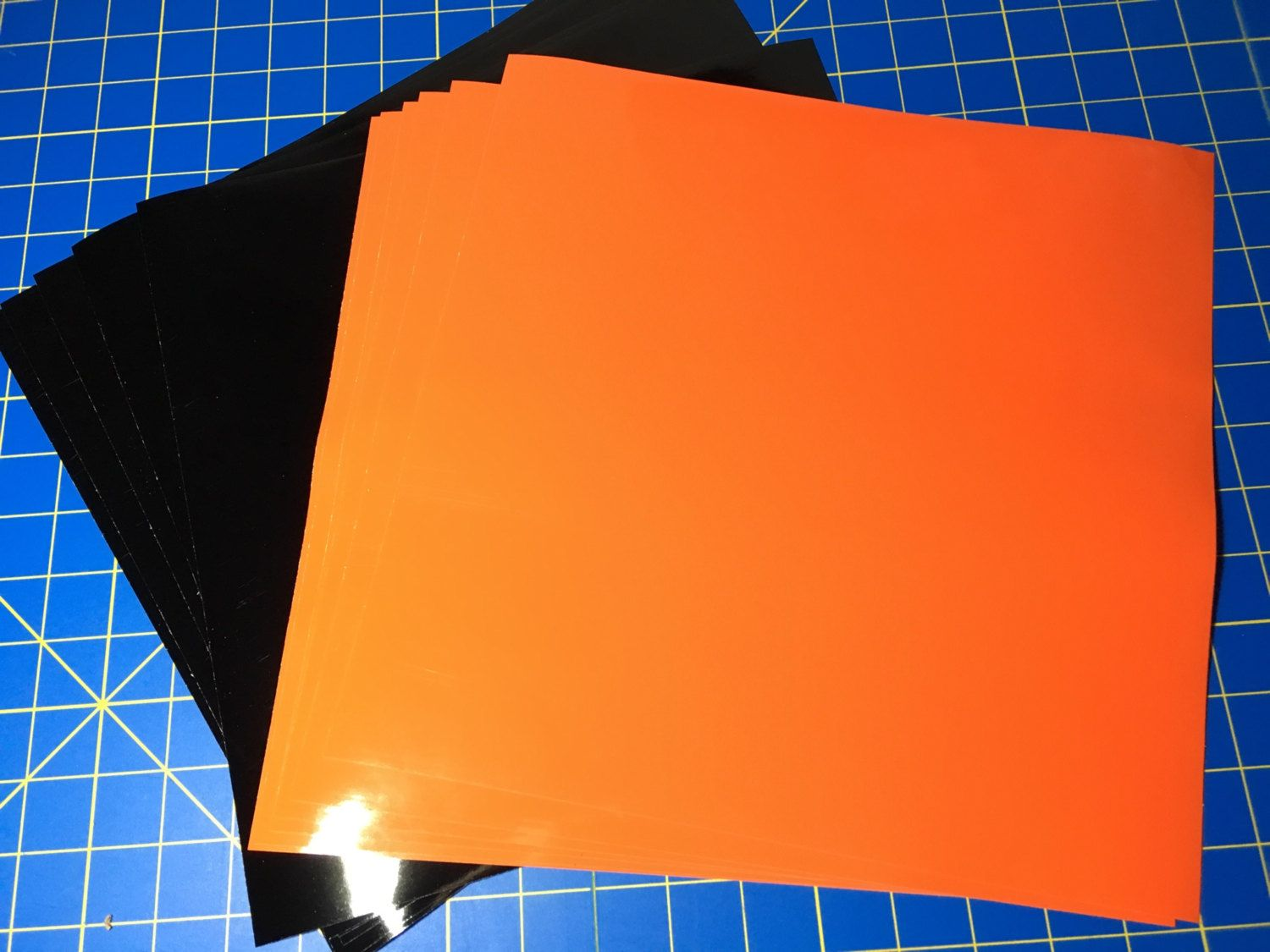 Oracal 651 Adhesive Vinyl Cricut 12 12x12 Sheets Permanent Halloween Special 6 Gloss Black 6 Sheets Orange By Craftvinylsho Orange Sheets Adhesive Vinyl Etsy