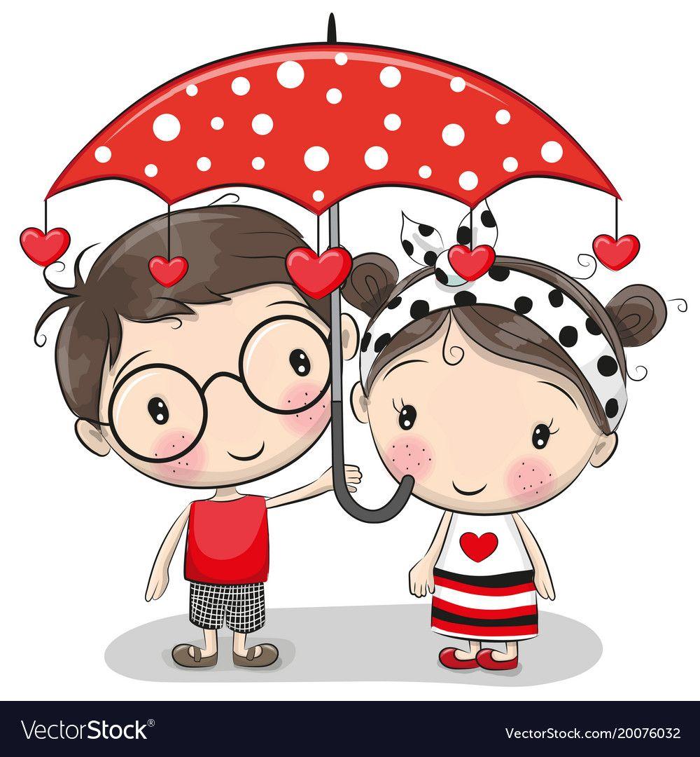 Cute Boy And Girl With Umbrella Vector Image On Vectorstock Cute Cartoon Boy Cute Cartoon Cartoon Boy