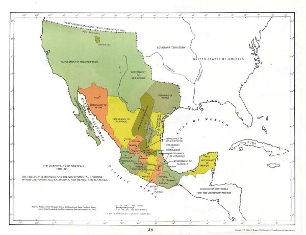 Viceroyalty Of New Spain In Th Early 1800s Atlas Latin America - Us-map-early-1800s