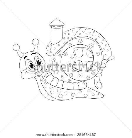 Cartoon funny snail with house. Coloring book. | šnečku, šnečku ...