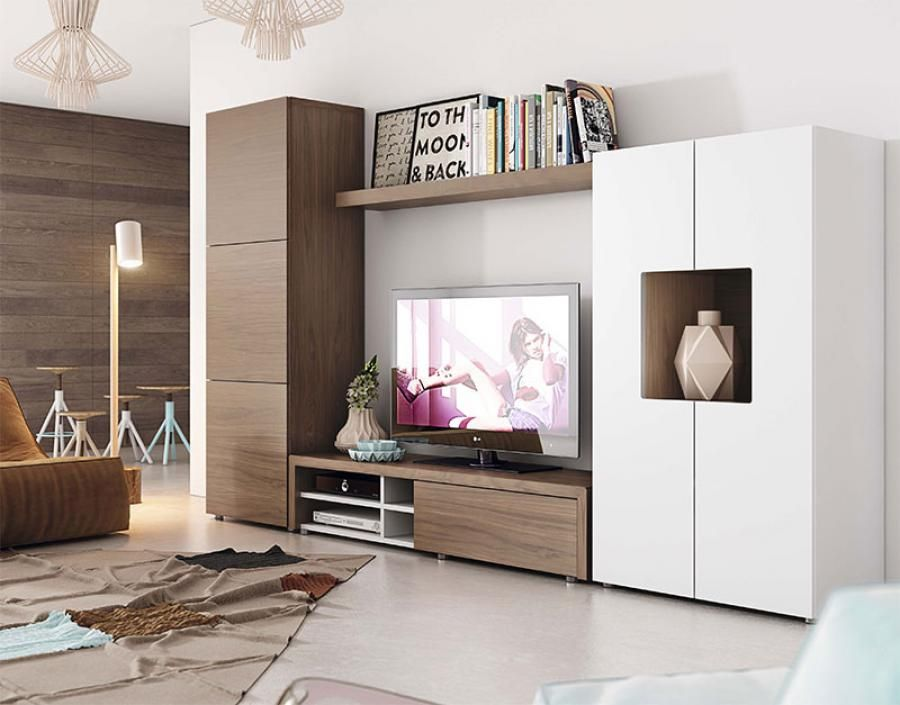 Contemporary Wall Storage System With Cabinet TV Unit And Tall