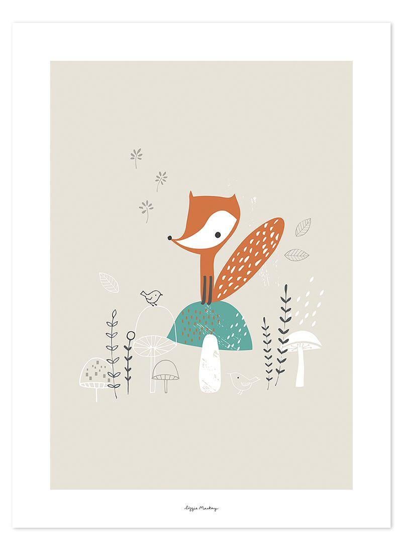 Lilipinso Kinderzimmer Poster U0027Fuchs U0026 Pilzeu0027 Beige/orange/grün 30x40cm