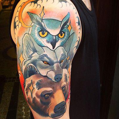 9c0b0bc66 owl wolf bear tattoo | Owl colection | Tattoos, Owl, Art