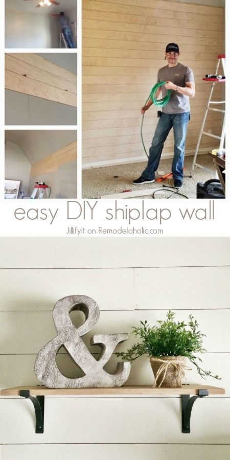 easy diy shiplap wall tutorial an inexpensive way to add character or cover up damaged walls. Black Bedroom Furniture Sets. Home Design Ideas