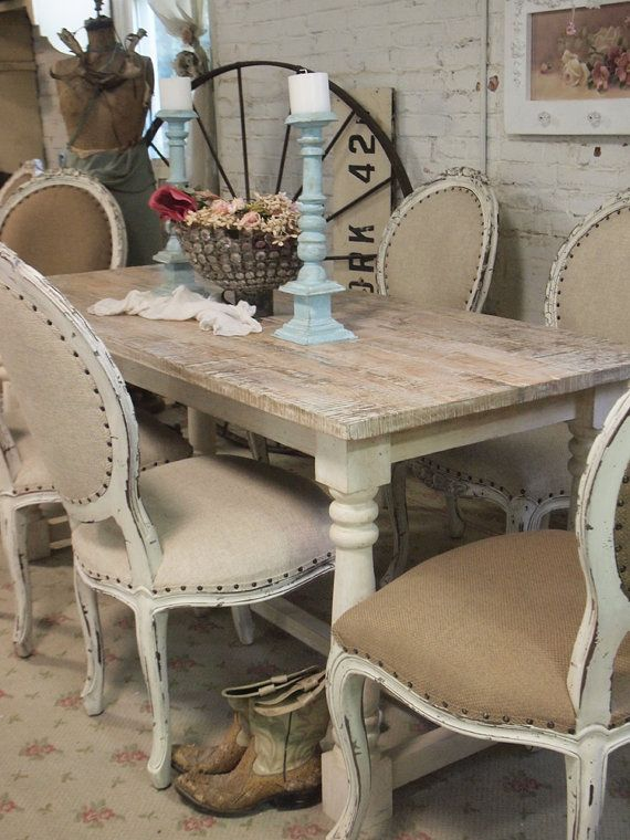 Shabby Chic Dining Room: Painted Cottage Chic Shabby French Linen Farm By