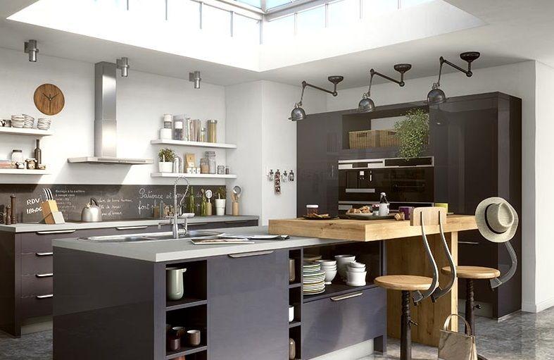 belle cuisine gris fonce moderne by le fournisseur ixina casablanca maroc espace deco. Black Bedroom Furniture Sets. Home Design Ideas