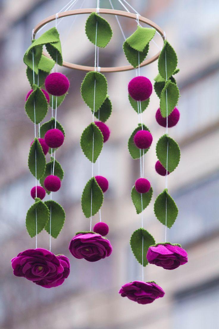 Flower Baby Mobile/Felt Flower Mobile/ Flower chandelier nursery mobile /Elegant Bedroom Deco...