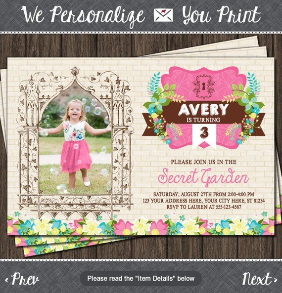 Secret Garden Birthday Invitation with Photo is part of Secret garden Invitations - h6sE6R © 20142018 Puggy Prints  All rights reserved