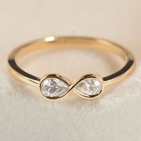 Pear Shaped cut diamond Infinity Engagement Ring Bridal ...