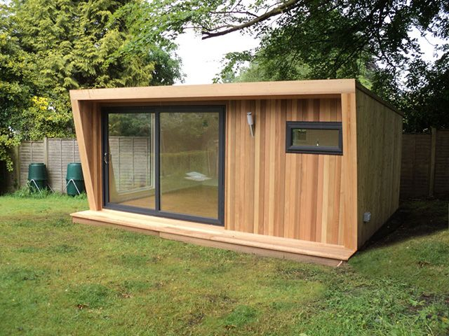 5m x 4m pinnacle garden room with 3m graphite sliding door set and