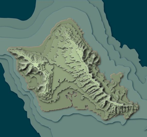 Topographic Map Oahu.This Handmade 13 5 X 13 5 X 2 Artwork Attempts To Capture The Story