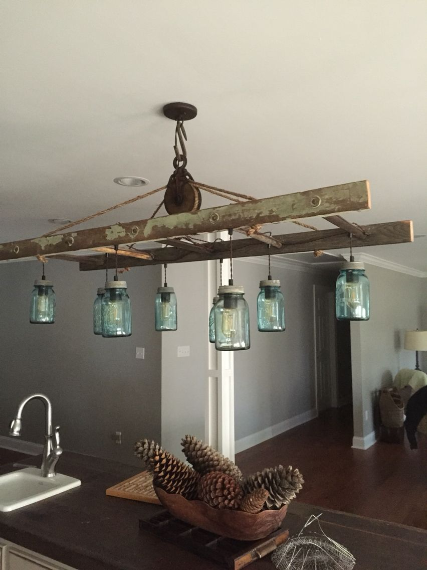 Mason Jar And Ladder Island Light By Karon Crowley Rustic Bathroom Light Fixtures Farmhouse Light Fixtures Rustic Bathroom Lighting