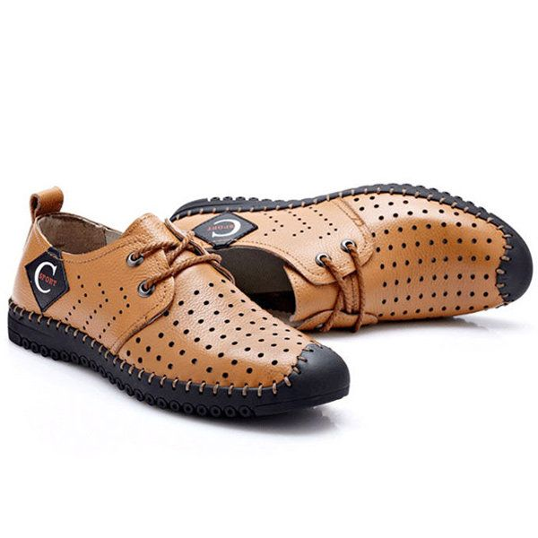 23886a4b254 Men Lace Up Casual Hole Outdoor Oxfords In Leather - Banggood Mobile ...