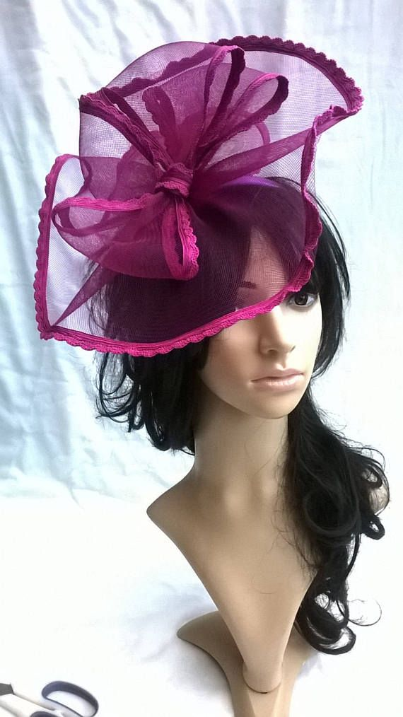 Deep Fuschia  magenta Fascinator..Stunning crin Bow style Fascinator on a  Headband. 10344f94102
