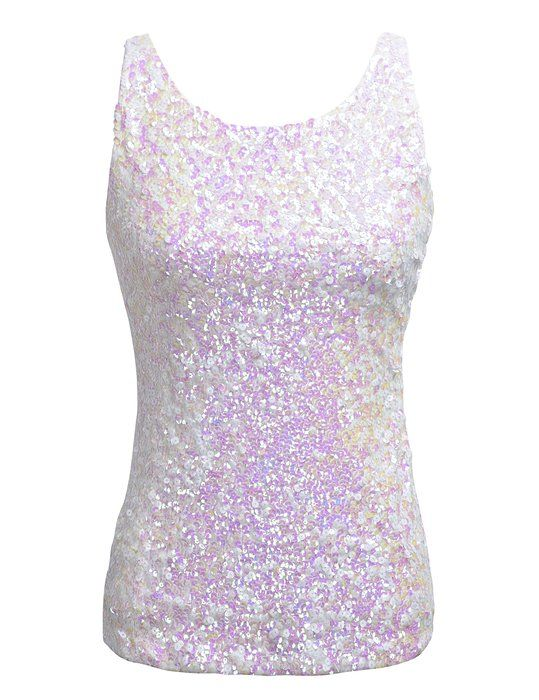 c1cf11ef PrettyGuide Women Shimmer Glam Sequin Embellished Sparkle Tank Top Vest Tops  White