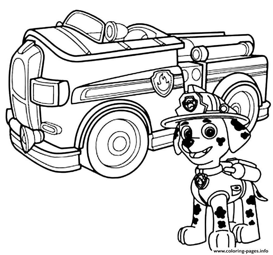 print paw patrol marshal firefighter truck coloring pages | paw ... - Firefighter Badges Coloring Pages