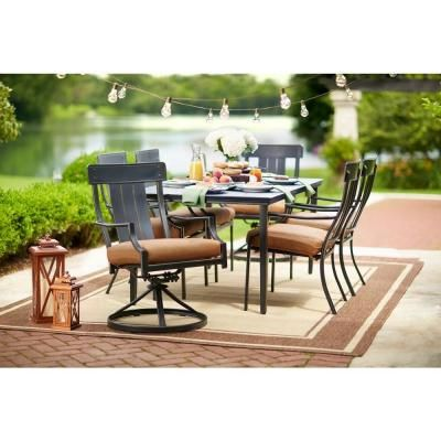 Hampton Bay Oak Heights 7 Piece Metal Outdoor Patio Dining Set