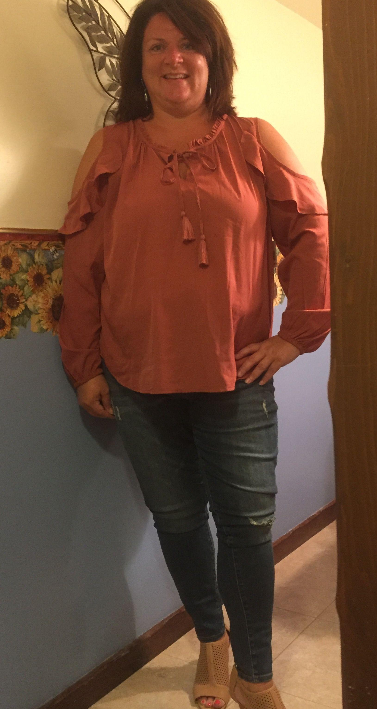 Dia & Co.   Cold Shoulder Top 2x  Orange $49 Kut from the Kloth Arlene Skinny Jeans 16 W $69