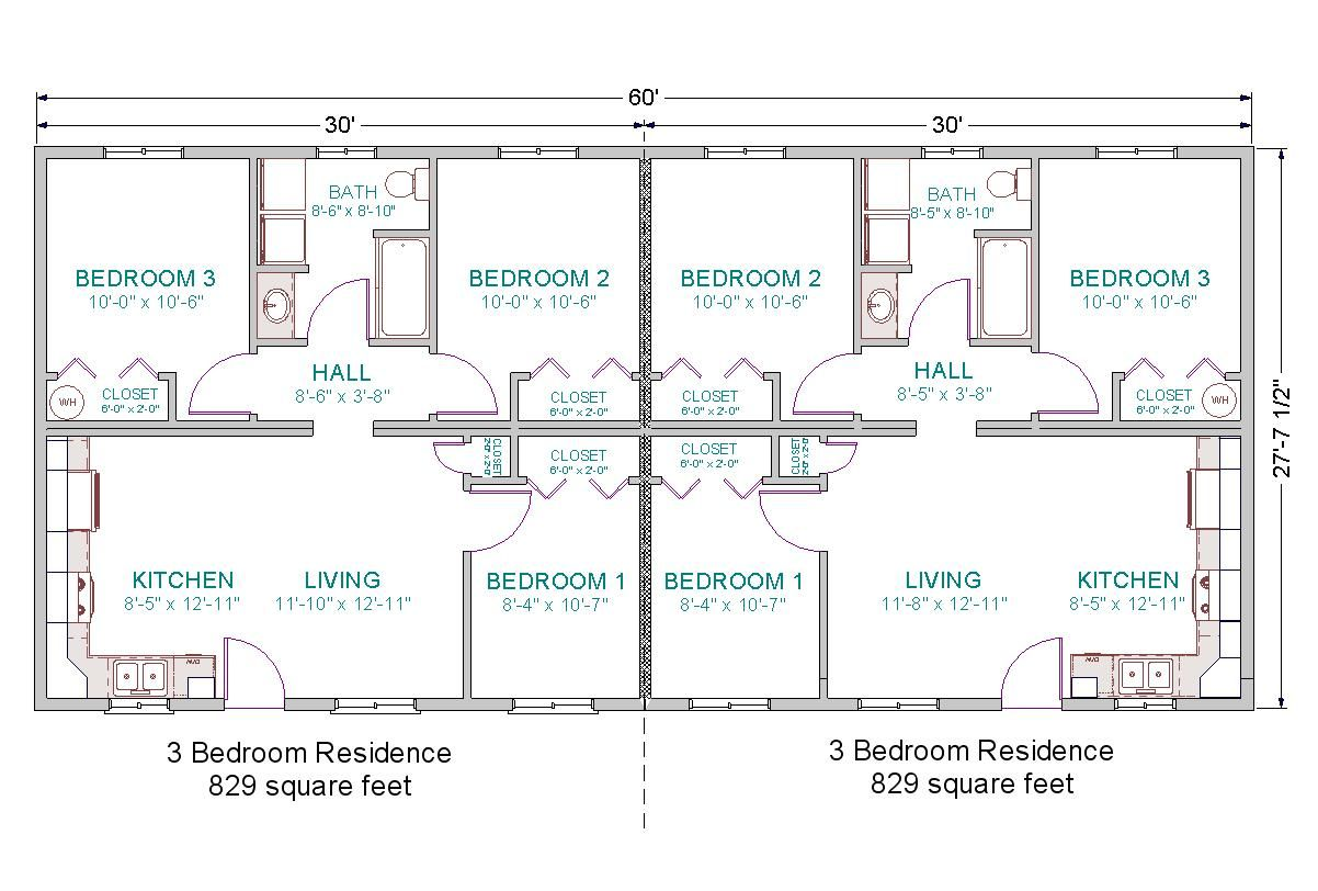 3 Bedroom Duplex Floor Plans Simple 3 Bedroom House Plans Lrg 7797ba5656b96838 Jpg 1202 812 Duplex Floor Plans Modular Home Plans Duplex Plans