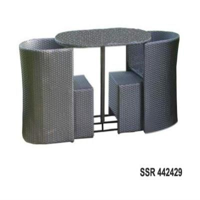 DC America Soho All Weather Wicker 5 Piece Dining Set With Ottomans Set