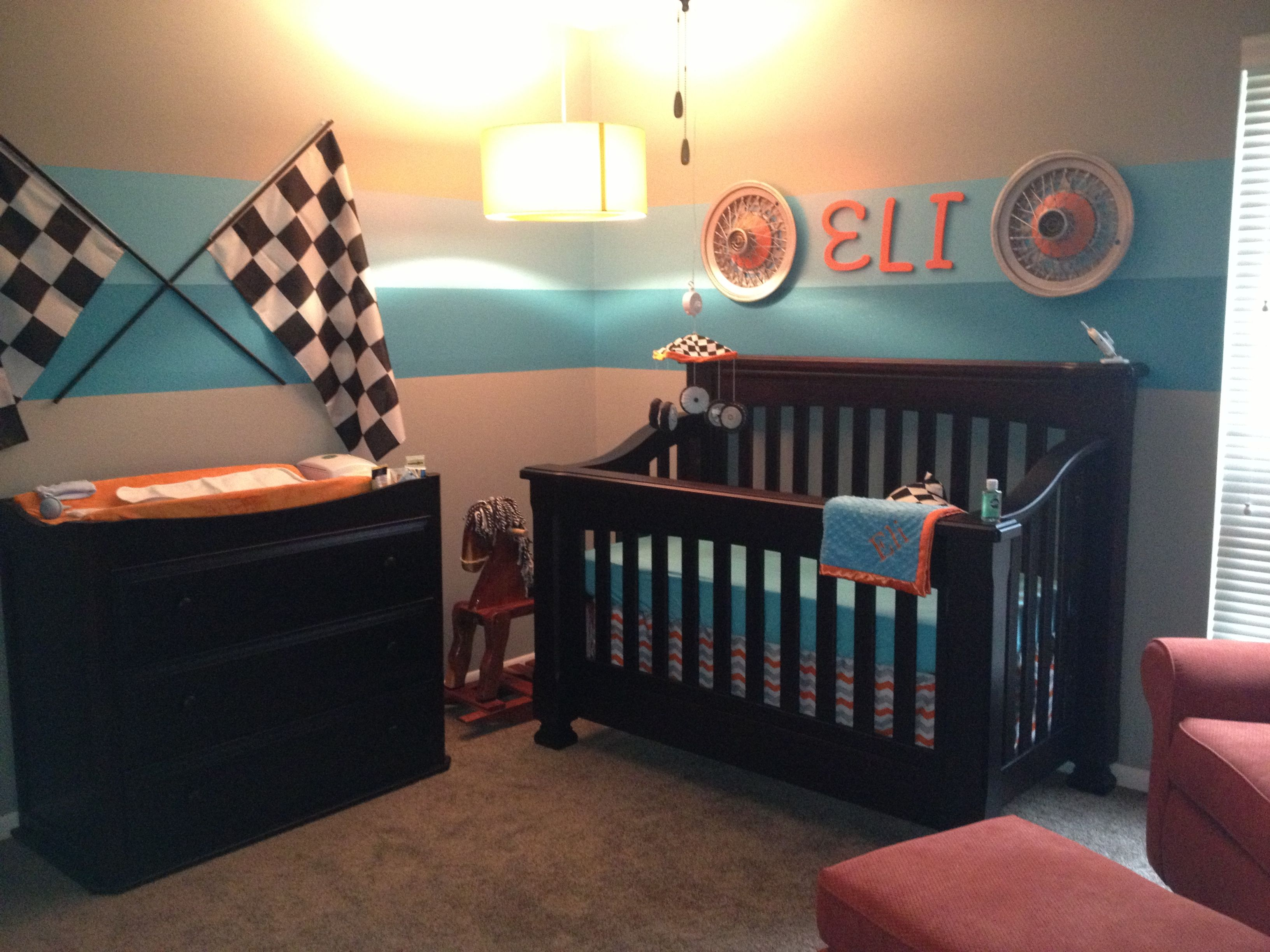 Eli's race car baby room! It's perfect. Nursery room boy