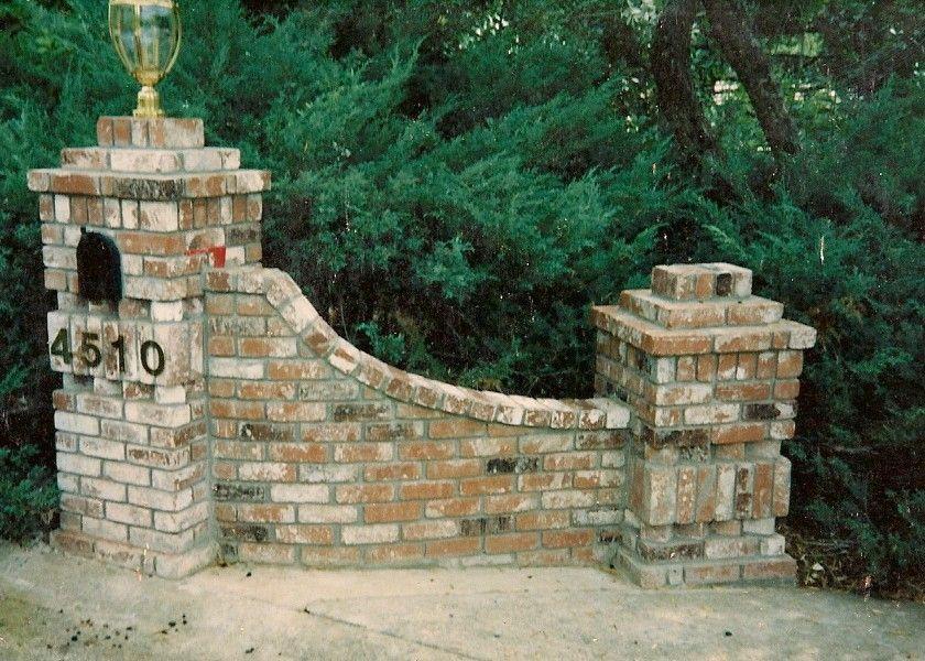 Driveway entrance pillars entry brick mail box to