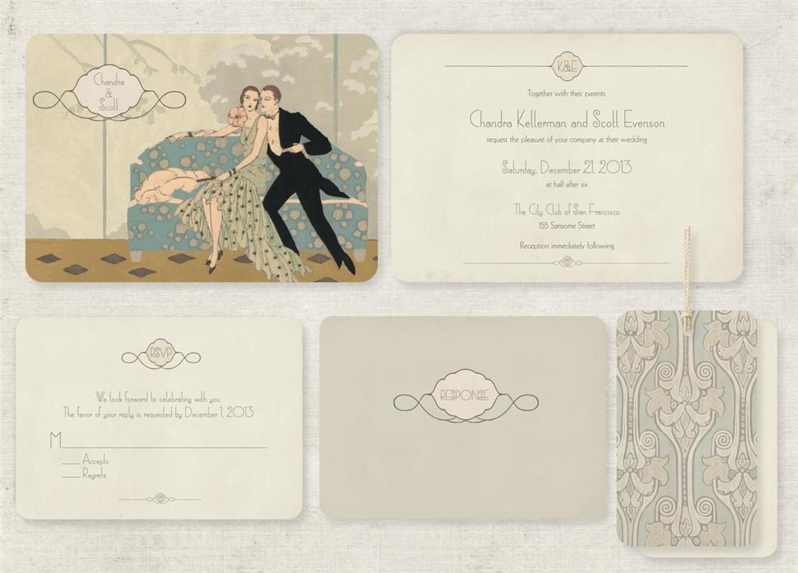 Wedding Invitations with Gatsby Glamour   Gatsby, Glamour and Weddings