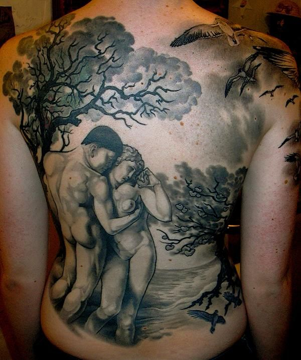 Garden of eden back piece i like the grey background of for Garden of eden tattoo designs