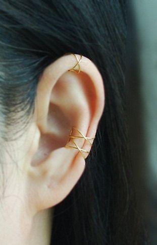 Bijoux D Oreille Cartilage 3 band conch ear cuff, fake conch piercing,cartilage earrings,no