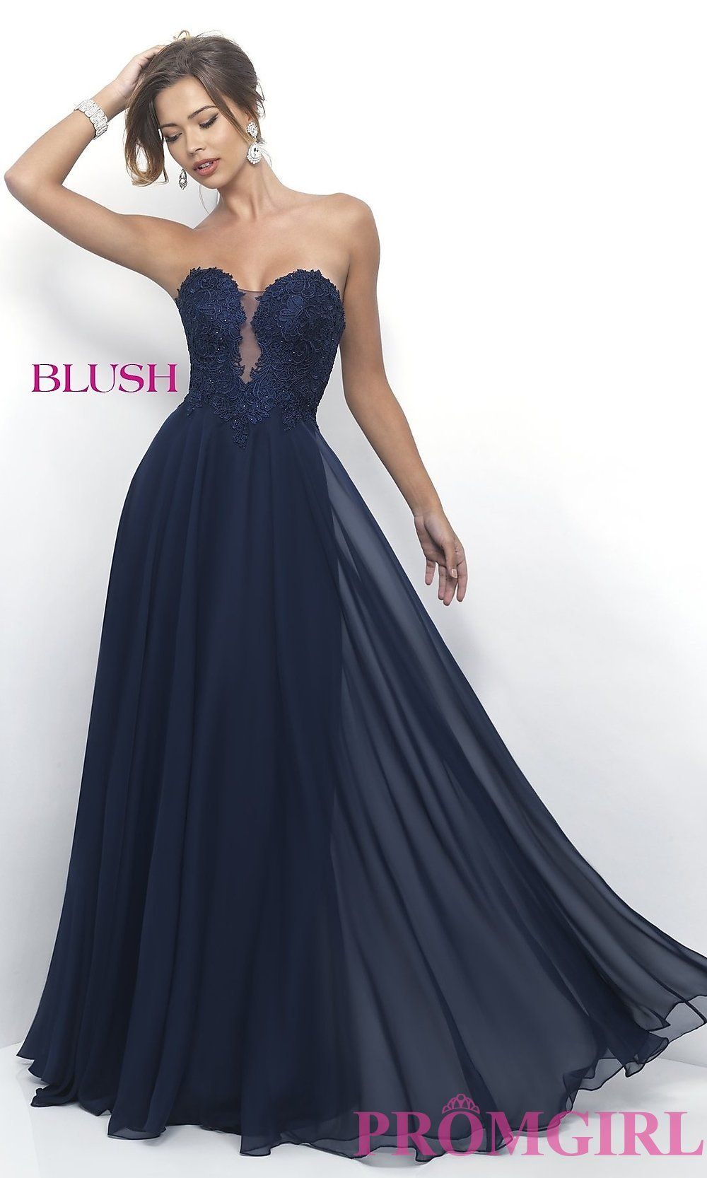 4ef60923d10 Long Strapless Prom Dress With Sweetheart Neckline And Lace Bodice ...