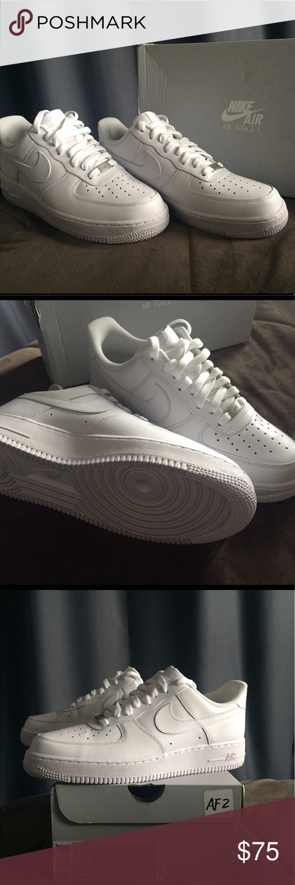 Brand New, White,  Nike AF1 mens size 8.5. Classic white Nike Air Force 1's. Brand new, in box! Never been worn. Just tried on!! Who can resist a classic like these!!! Nike Shoes Athletic Shoes