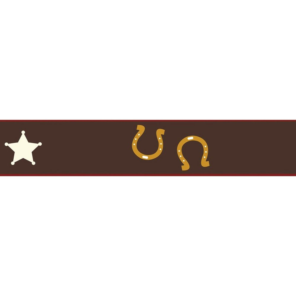 Sweet Jojo Designs WildWest Cowboy Wall Paper Border- Chocolate-Red-Cream-Blue-Gold