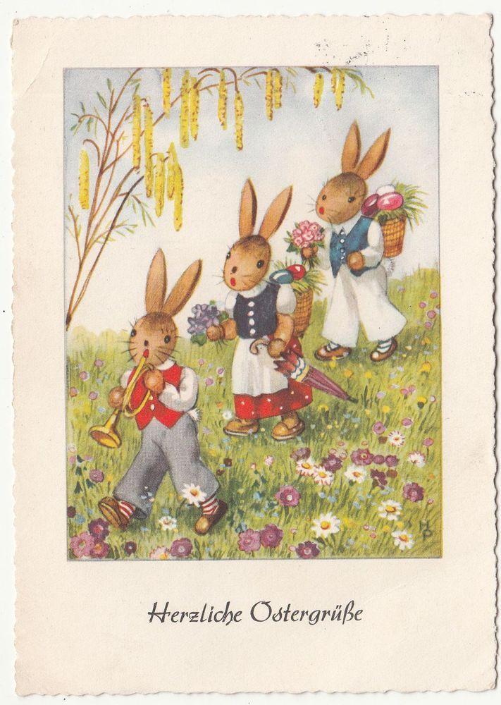 Ak Vermenschlichte Osterhasen Herzliche Ostergre 1955