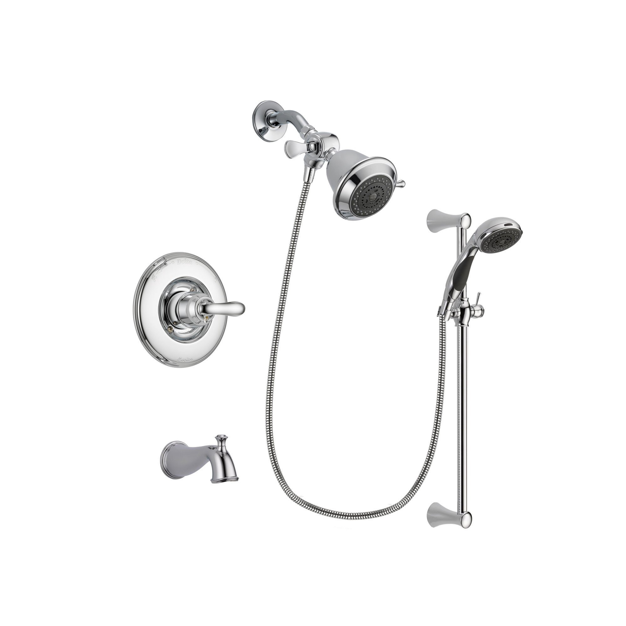 Delta Linden Chrome Tub And Shower Faucet System With Hand Shower