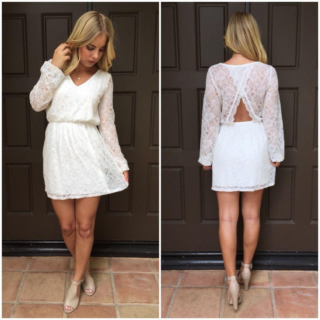 Sugar Lace Long Sleeve Dress In White Bridal Shower Dress Party Dress Long Sleeve White Bridal Shower Dress [ 1024 x 1024 Pixel ]