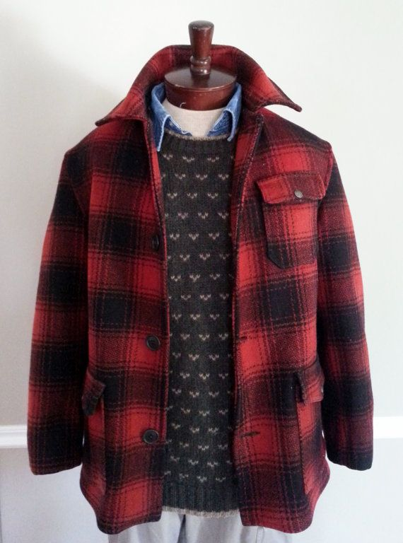 07a39106390 Vintage Mackinaw Hunting Jacket Red and Black American Classic Wool ...