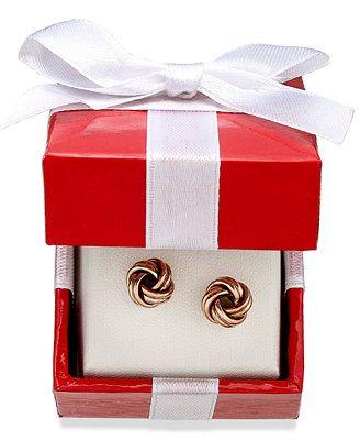 Love Knot Stud Earrings in 18k Rose Gold