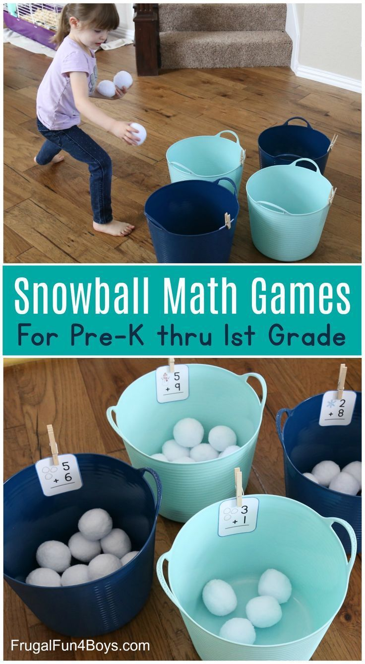 Snowball Addition and Subtraction Math Games -   19 simple crafts kindergarten ideas