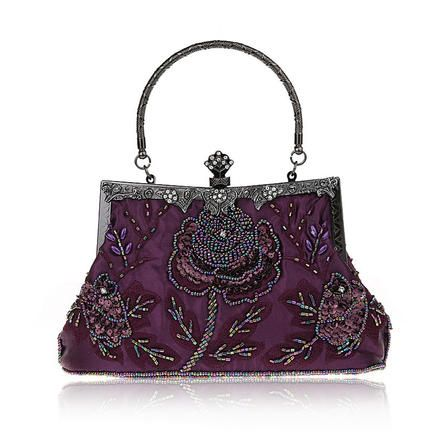 Toptie TopTie Stylish Embroidery Flower Blossoms Beaded Clutch Cocktail Handbag