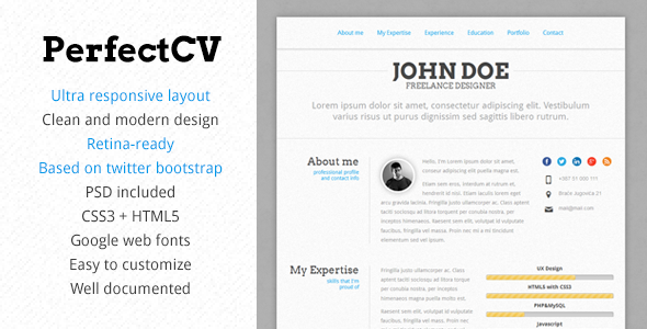 perfectcv responsive bootstrap cv resume perfectcv is like the name says - Wordpress Resume Template