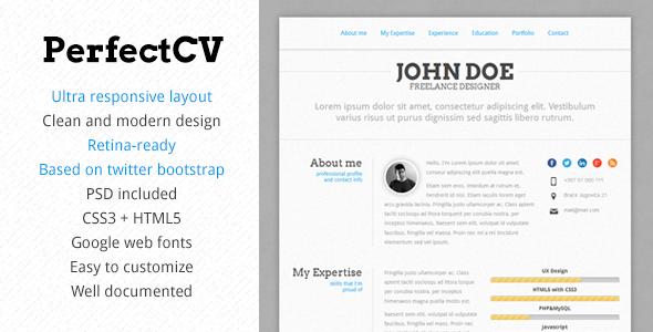 Perfectcv Responsive Bootstrap Cv Resume Resume Design Template Resume Template Professional Resume Templates