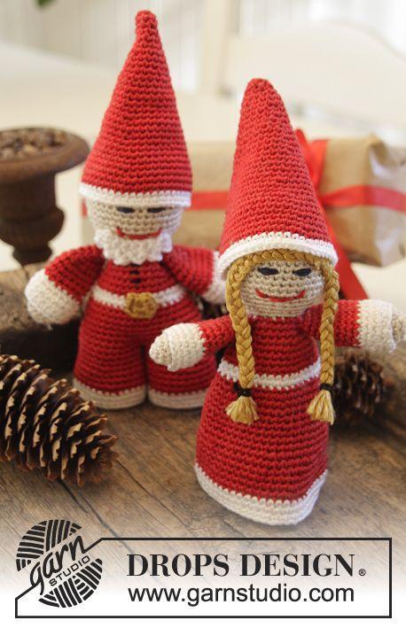"DROPS Jul: Hæklede julenisser i ""Cotton Viscose"" ~ DROPS Design"